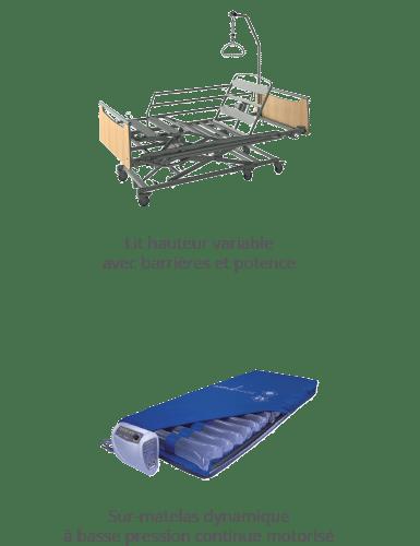 Lit hauteur variable avec barrières et potence - Sur-matelas dynamique à basse pression continue motorisé